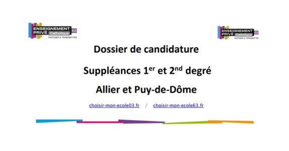 Dossiers de candidature pour des suppléances 1er et 2nd degré – 03-63