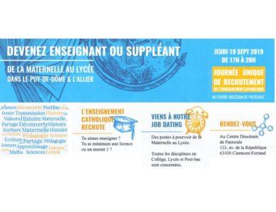Devenez enseignant ou suppléant – Journée Unique du Recrutement – 19/09