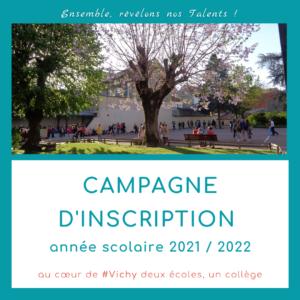 Les inscriptions sont ouvertes à l'école et au collège de Vichy